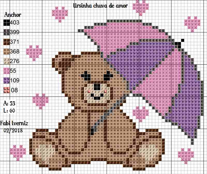 desenho de ursinha com guarda chuva