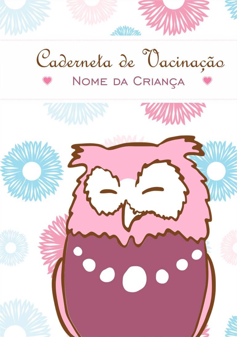 capa caderneta de vacinação corujinha