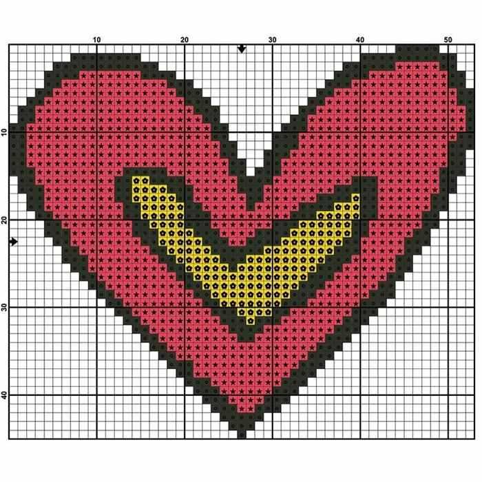 coração em ponto cruz grafico