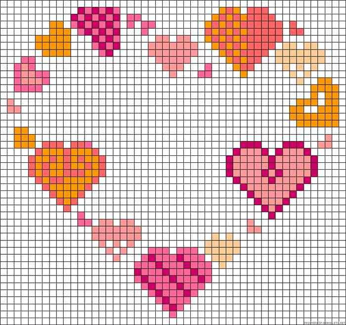 coração em ponto cruz com corações