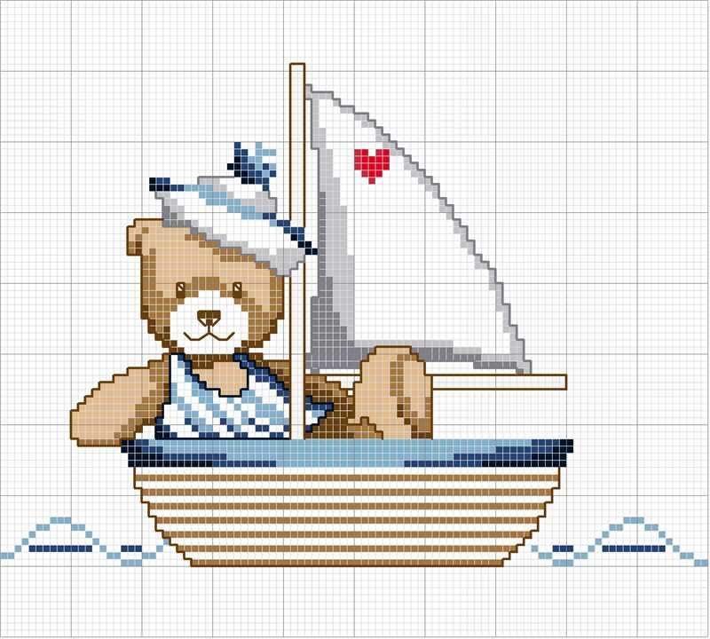 ursinho em ponto cruz marinheiro