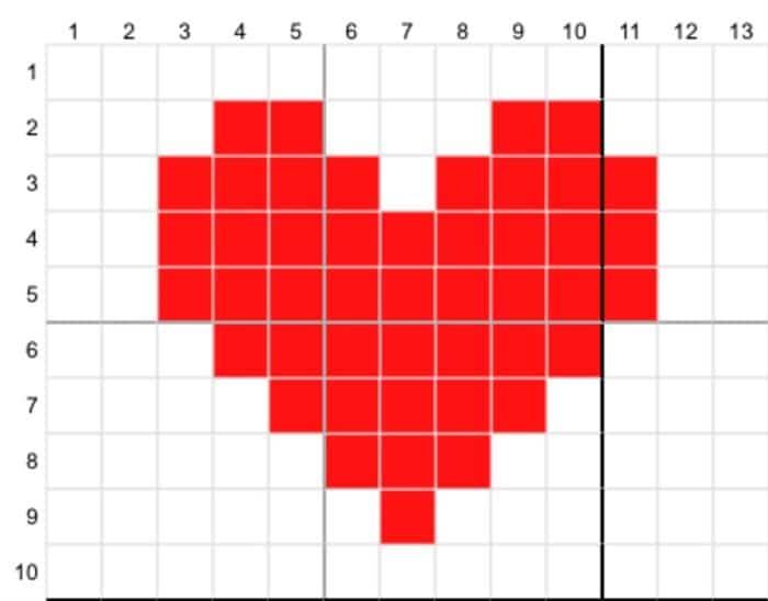 desenho de coração ponto cruz