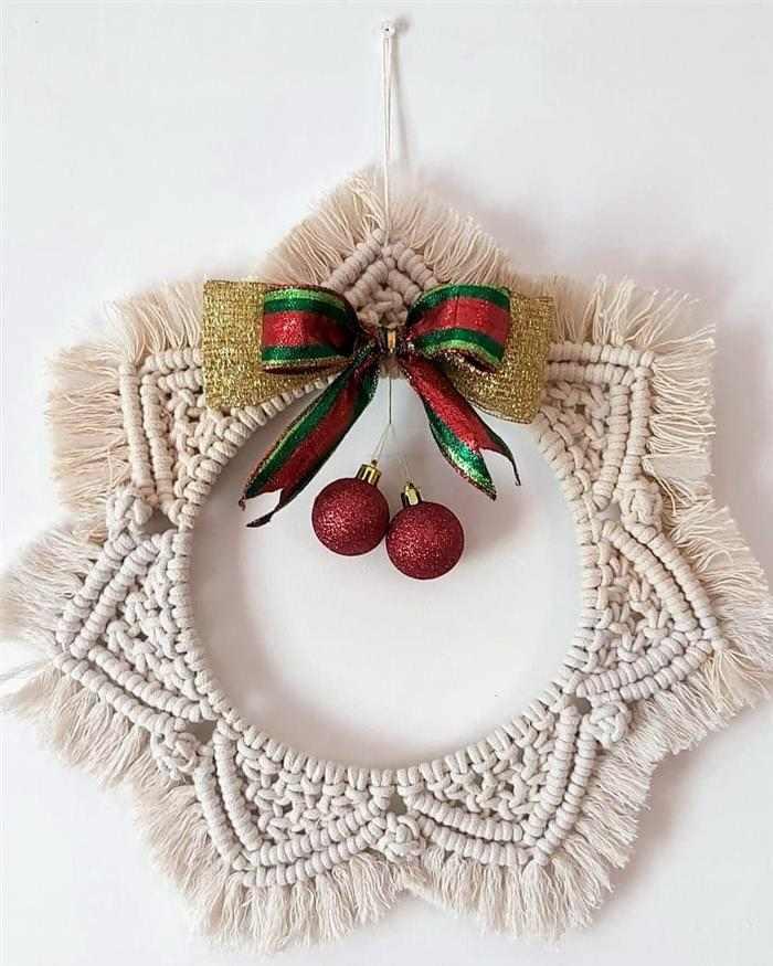 macrame para decoração de Natal 2021