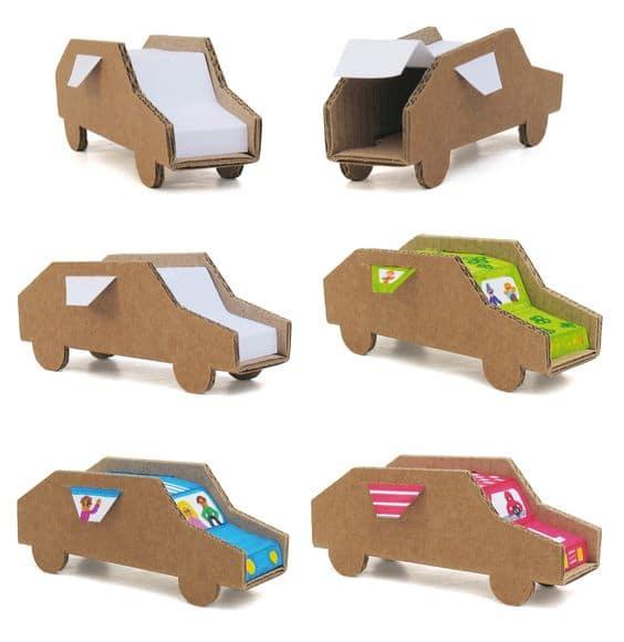 carrinhos criativos de papelão