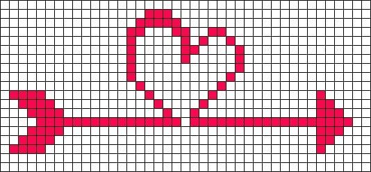 coração em ponto cruz com flecha