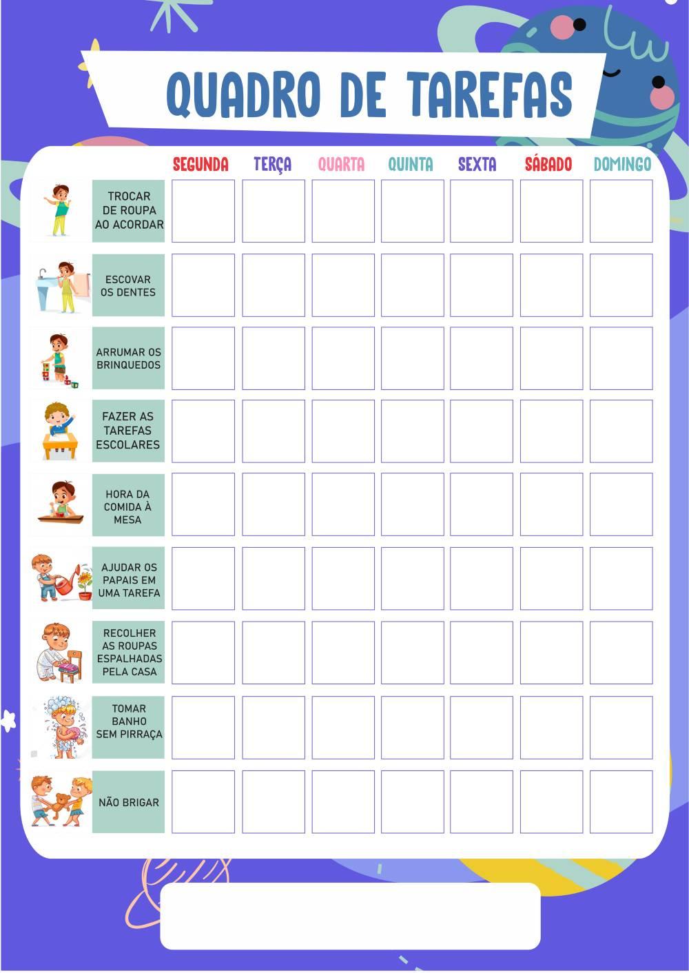quadro de incentivo infantil para imprimir
