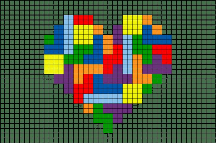 como fazer coração em ponto cruz