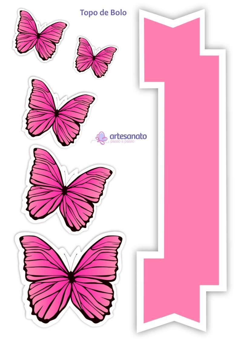 topo de bolo de borboletas para imprimir