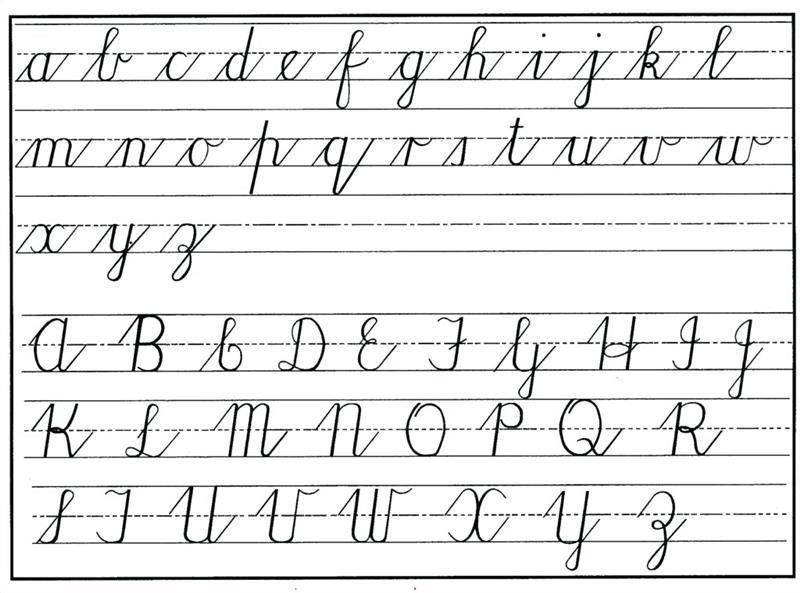 alfabeto cursivo minúsculo