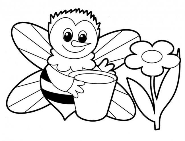flor com abelha para colorir