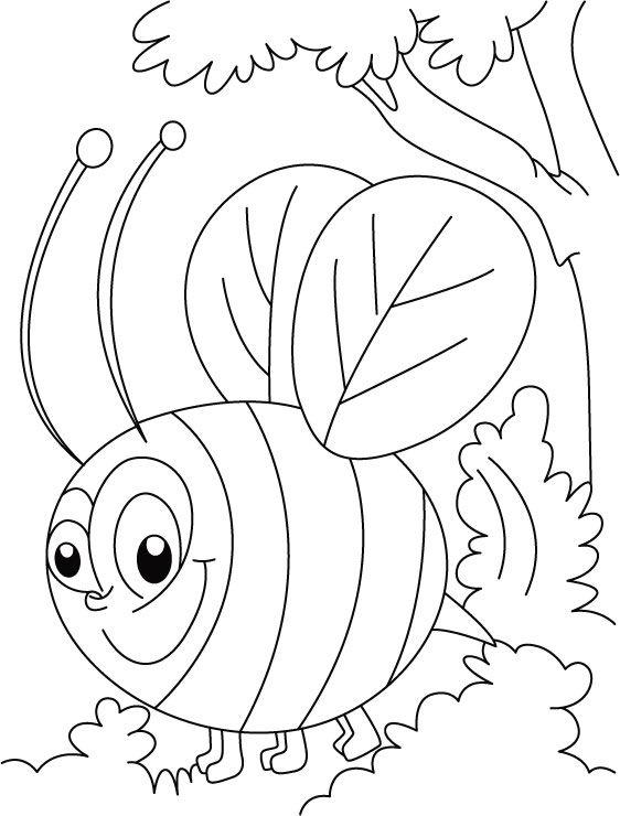 abelha preto e branco para colorir