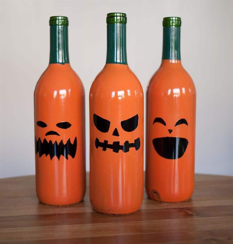 enfeites de halloween de garrafas de vidro