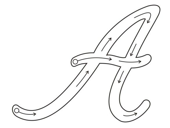 molde letra a cursiva