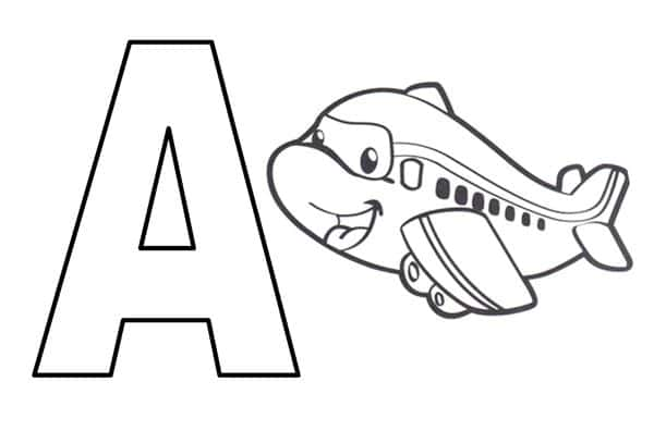 letra a com aviao