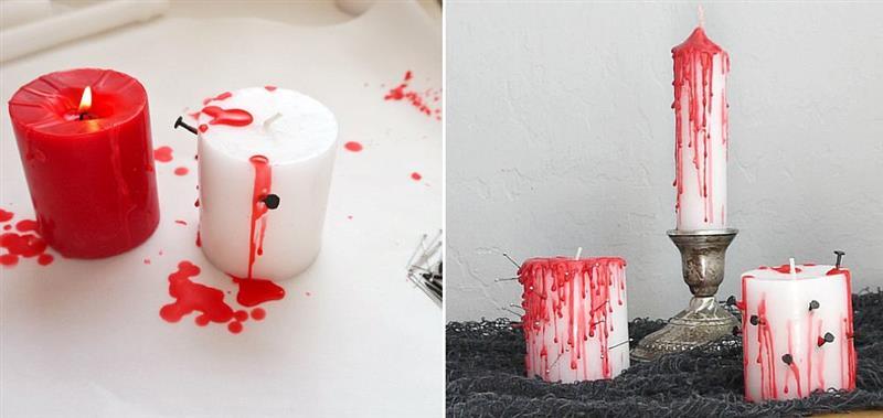 Velas com gotas de sangue