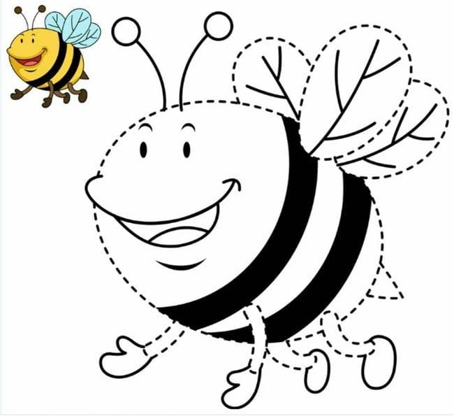 abelha para colorir e colorida