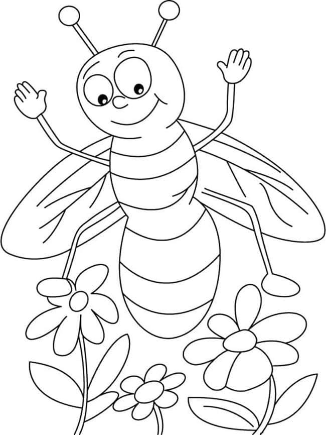 abelha na flor para colorir