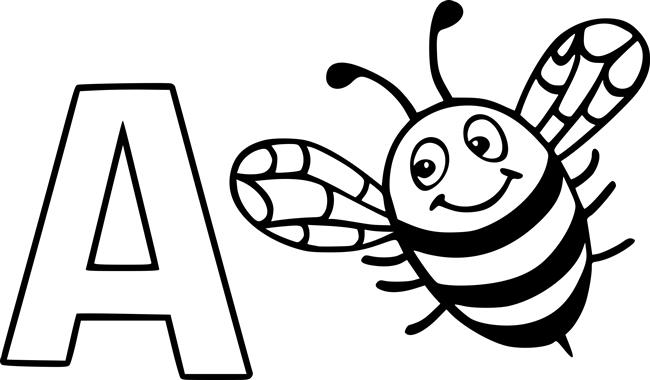 letra a de abelha para colorir