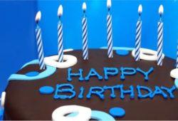 bolo de aniversario azul simples