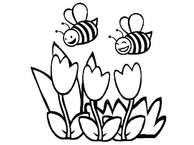 flores e abelhas para colorir