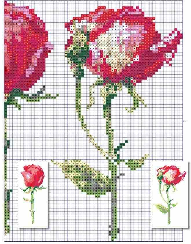 graficos de botoes de rosas em ponto cruz