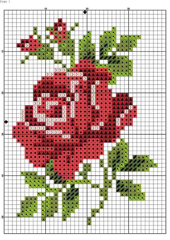 rosas em ponto cruz para imprimir