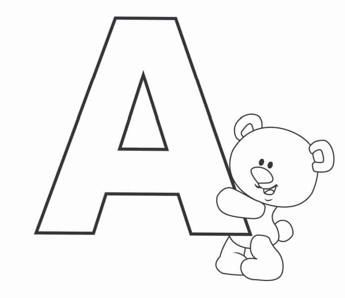molde letra a bonita com urso