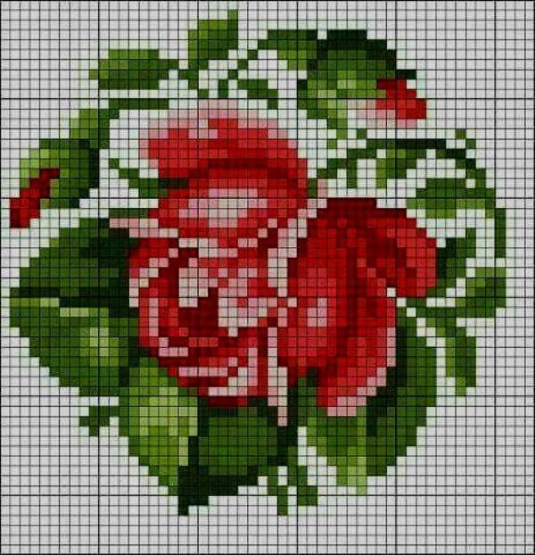 rosas de canto em ponto cruz