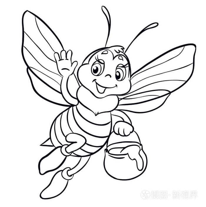 abelha com pote de mel