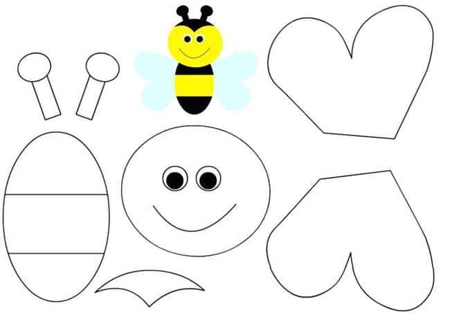 abelha para colorir e montar