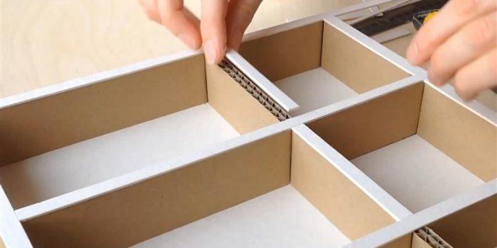 divisória de gaveta de papelão