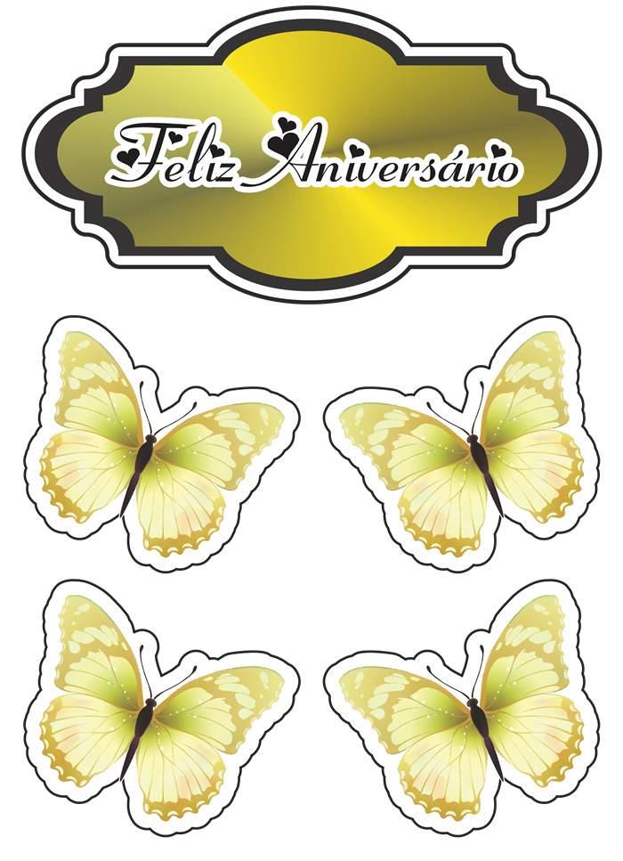 feliz aniversário com borboletas