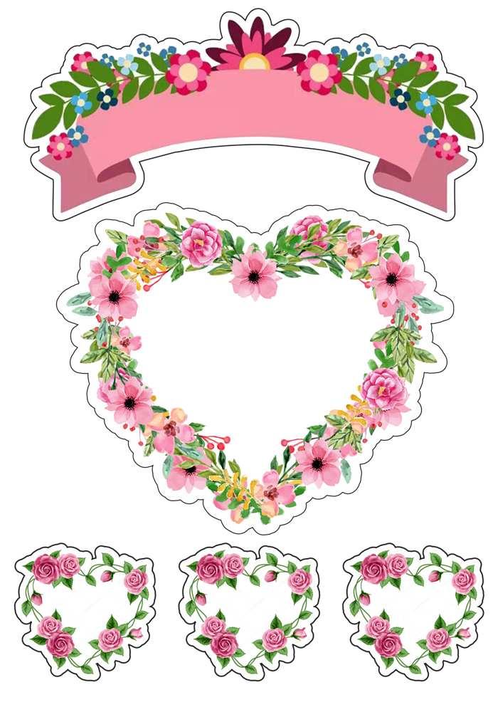 Topo de bolo feminino rosa