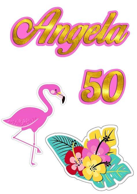 Topo de bolo com nome tema flamingo