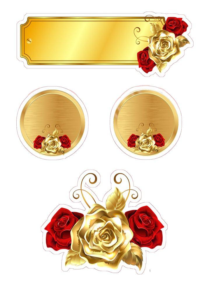 Dourado com vermelho