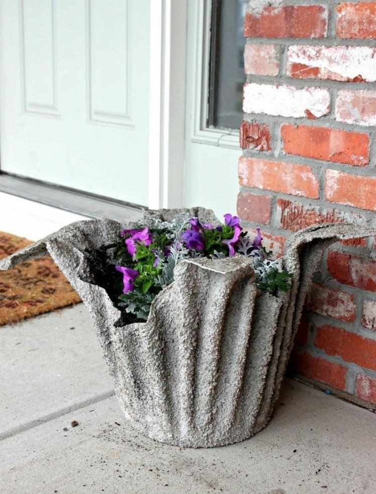 vaso de cimento e tecido