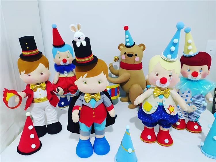 bonecos de feltro tema circo