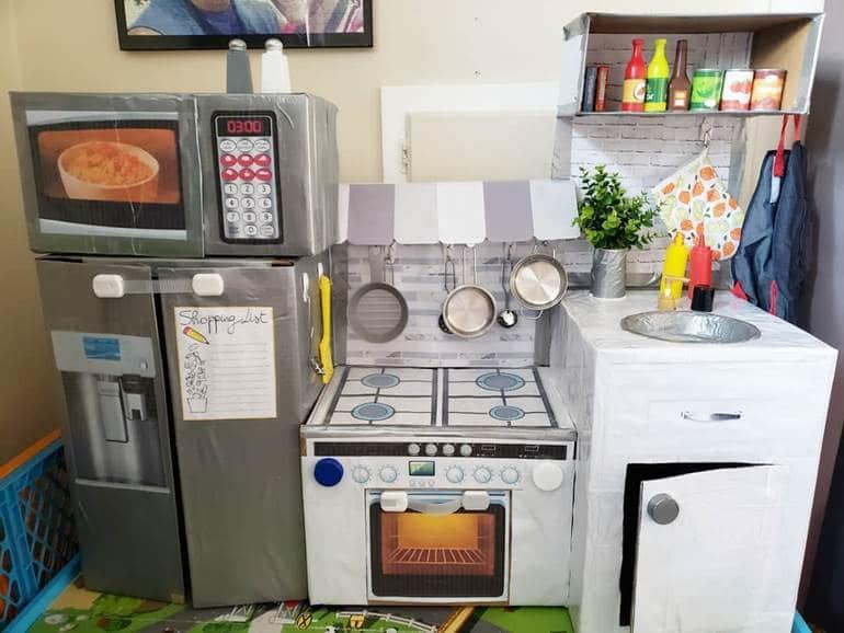 como fazer cozinha de papelão
