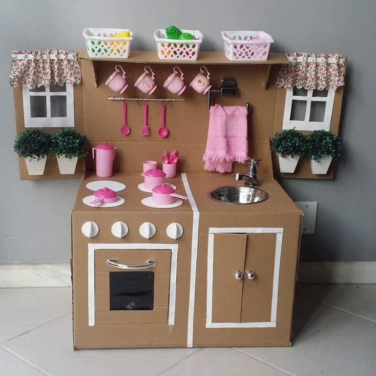 armario de cozinha de papelão